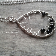 Sterling silver wire-wrapped onyx necklace