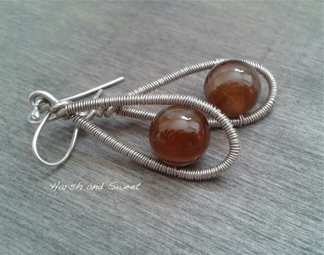 Dangle earrings in oxidised sterling silver with brown lace agate