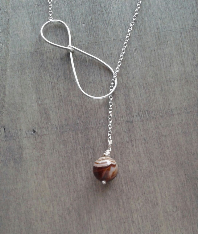 Y necklace in sterling silver with lace agate