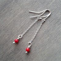 Long thin retro earrings with coral