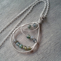 Sterling silver necklace with green moss agate pendant
