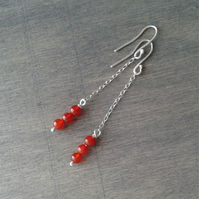 Long chain earrings with carnelian gemstone