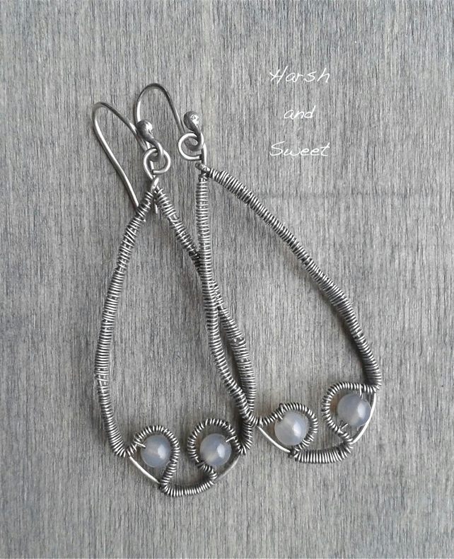 Oxidized silver earrings with grey agate