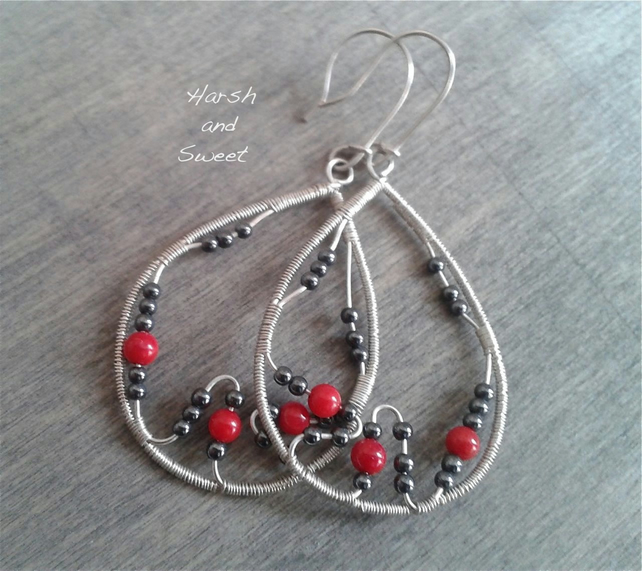 Statement earrings with hematite and coral beads