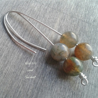Long threader earrings with yellow agate gemstone