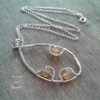 Natural agate wire-wrapped necklace