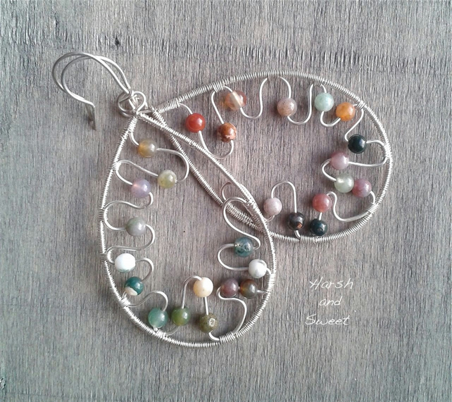 Large dangle earrings in sterling silver with jasper beads