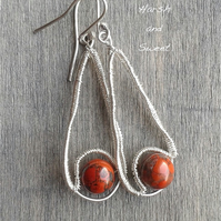 Wire-wrapped earrings with colourful red jasper