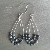Boho dangle earrings with snowflake obsidian