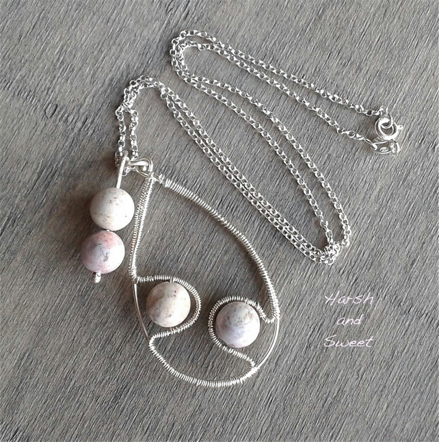 Silver necklace with pale pink Indian agate pendants