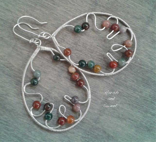 Wide dangle earrings in Sterling silver and jasper