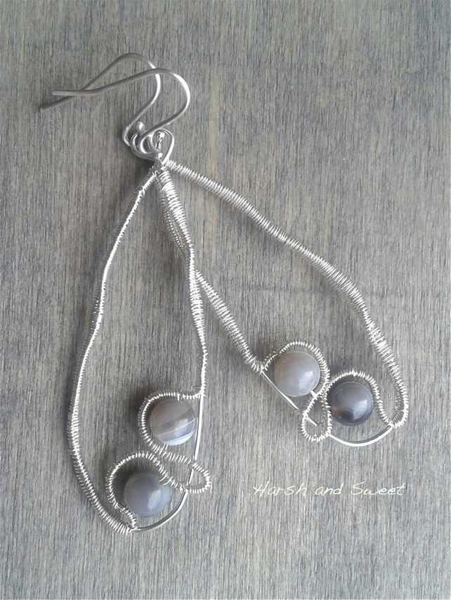 Contemporary earrings with Botswana agate