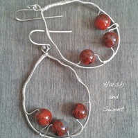 Dramatic red jasper teardrop earrings