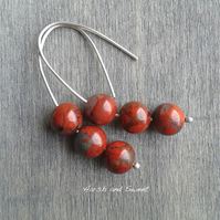 Eco-friendly threader earrings with red jasper beads