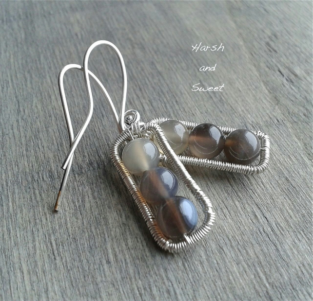 Grey agate ombre earrings in wire-wrapped sterling silver