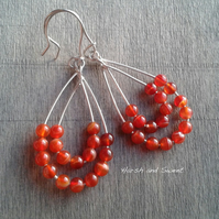 Colourful boho earrings with burnt orange carnelian