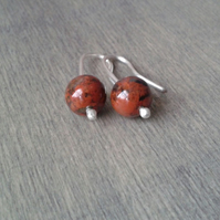 Small dangle earrings with red brecciated jasper