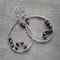 Large dangle earrings with snowflake obsidian