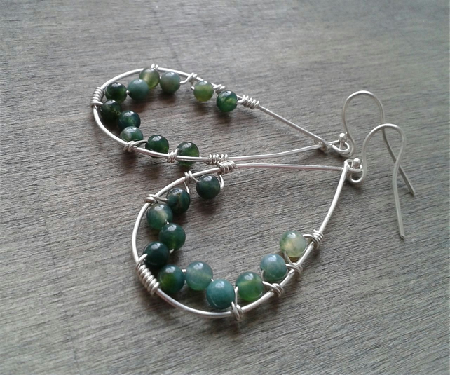 Green dangle earrings with moss agate