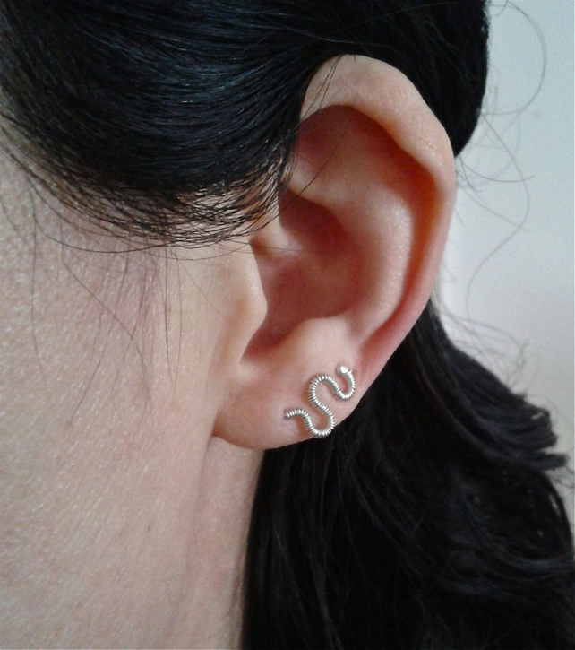 Wire-wrapped minimalist ear cuffs in sterling silver