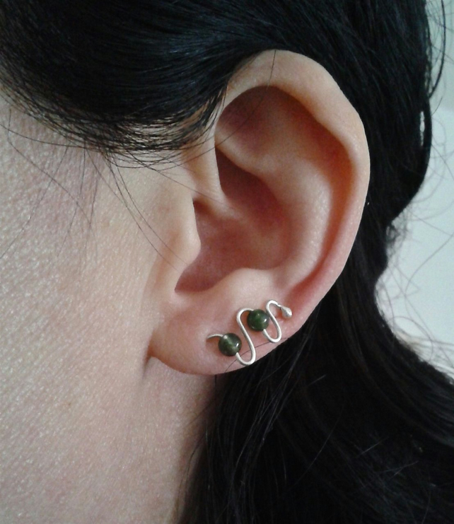 Ear cuffs in recycled sterling silver and moss agate