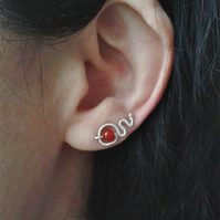 Wire-wrapped ear climbers in recycled silver and carnelian