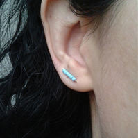 Small ear cuffs with turquoise glass beads