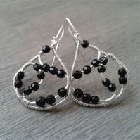 Wire-wrapped sterling silver and onyx earrings