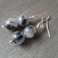 Black and white rutilated quartz earrings