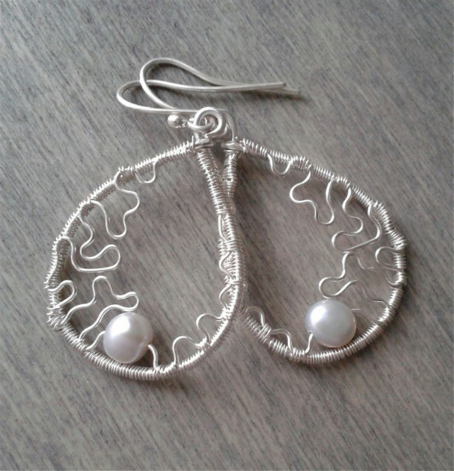 Grey pearl earrings in sterling silver