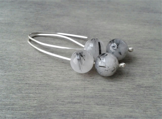 Quartz rutile threader earrings in recycled Sterling silver