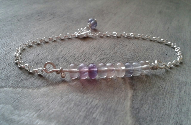 Sterling silver chain bracelet with fluorite gemstone