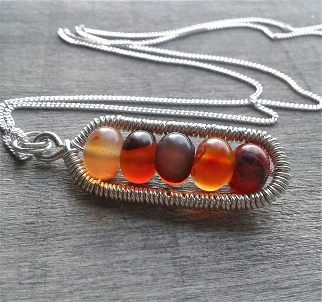 Silver pendant necklace with carnelian gemstone