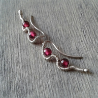 Silver ear climbers with garnet gemstone