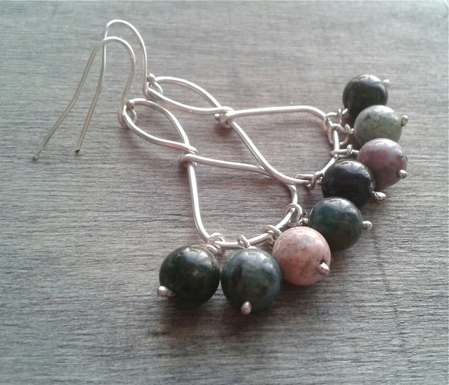 Boho chandelier earrings with Indian agate