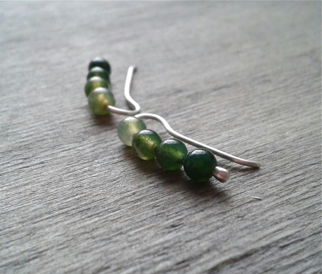 Green ombre ear crawlers with moss agate