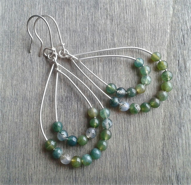 Boho earrings with green moss agate gemstone