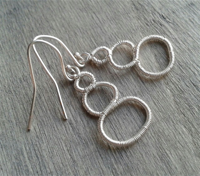 Minimalist wire-wrapped silver earrings