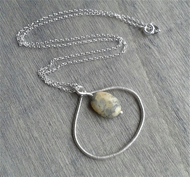 Sterling silver necklace with open circle and crazy lace agate pendants