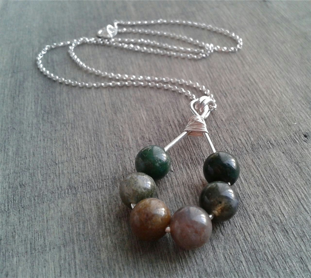 Boho necklace with colourful Indian agate pendant
