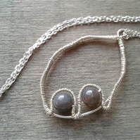 Minimalist silver necklace with grey agate