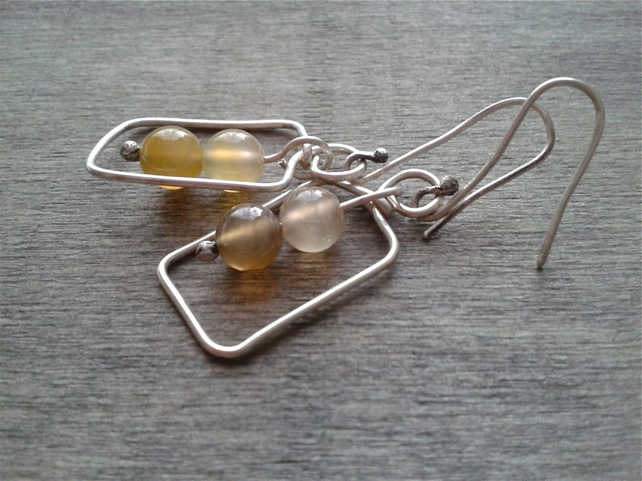 Sterling silver dangle earrings with yellow agate