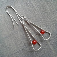 Lightweight long earrings with carnelian