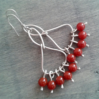 Long bohemian chandelier earrings with carnelian