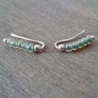 Small baby blue ear cuffs in recycled silver