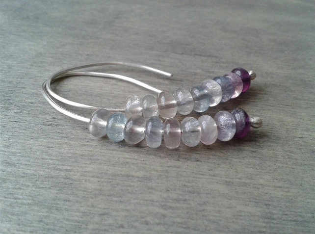 Rainbow fluorite threader earrings