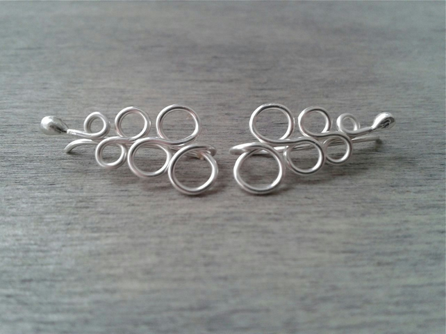 Ear cuffs in recycled sterling silver wire