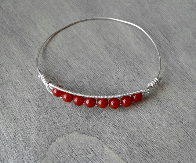 Recycled sterling silver bangle with carnelian beads