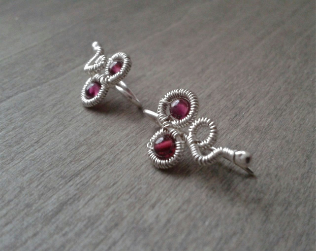 Garnet earring cuffs in wire-wrapped sterling silver