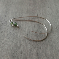 Silver teardrop threader earrings